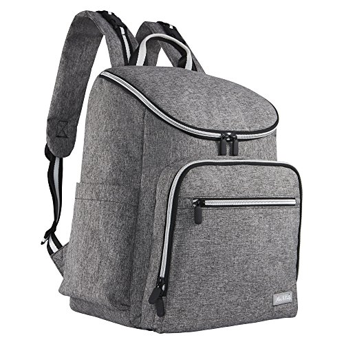 Alex and Kate Diaper Backpack – Large Capacity Waterproof Baby Travel Bag Set – 16 Organize Pockets, Built-in Stroller Straps, Changing Pad, Extra Mini Bottle Bag – Stylish, Durable, USB Port (Gray)