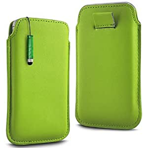 Direct-2-Your-Door - BlackBerry Funda de cuero Flip piel cubierta de 9320 Prima Soft PU Tire de la tabulación y Mini Stylus Pen - Verde