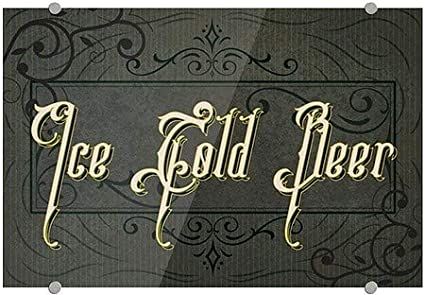 18x12 Victorian Frame Premium Acrylic Sign 5-Pack Ice Cold Beer CGSignLab
