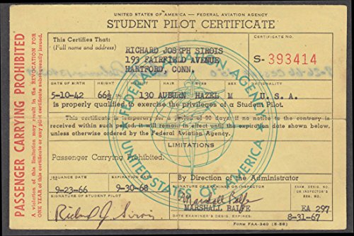 FAA Student Pilot Certificate Cessna 150 Passenger Carrying Prohibited 1966 ()