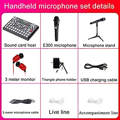 HWENJ Micrófono para Pc + Tarjeta De Sonido En Vivo, Bluetooth ...