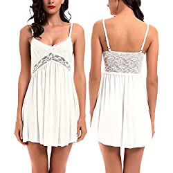 Women Lace Lingerie Sleepwear Chemises V-Neck Full Slip Babydoll Nightgown Dress White XL