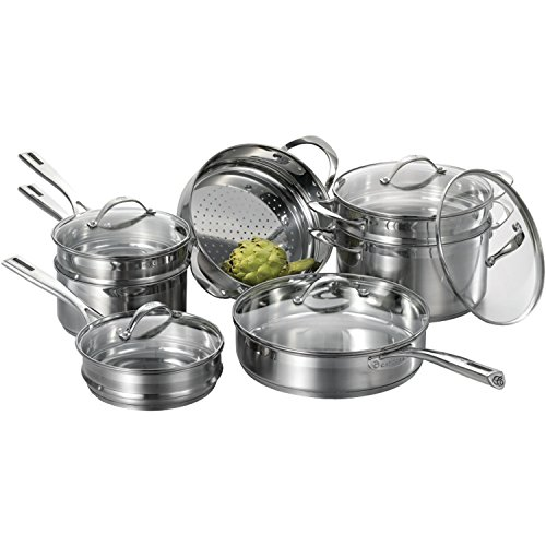 CAT CORA by Starfrit 12-Piece Stackable Stainless Steel Cookware Set (3.2 Quart Stackable Steamer)