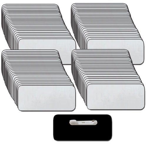 Name Tags/Badges and Pin Fasteners Unattached - 100 Pack Bulk Silver/Black Blank Plastic 1/4th Rounded Corners 1.5