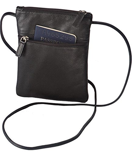 Winn International Harness Cowhide Leather Mini Tote/Passport Holder in Black
