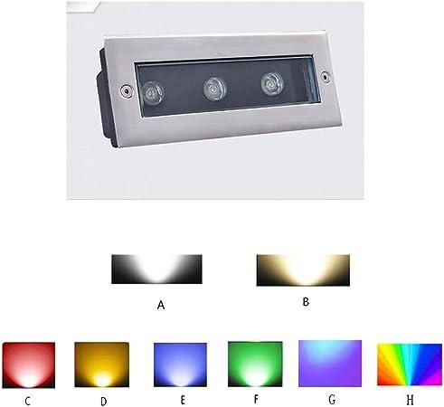 AMDHZ Foco Empotrable de Suelo LED Enterrado Luces LED Incrustado Impermeable A Prueba De Polvo Durable Escalera Parque Plaza Iluminada Luz Enterrada,8 Colores,8 Potencia (Color : D, Size : 6W): Amazon.es: Hogar