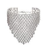 FANCY LOVE Elegant Bohemian Statement Necklace Charms for Women Choker Flower Cluster Diamond (silver)