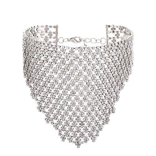 Barabum Fancy Love Elegant Bohemian Statement Necklace Charms for Women Choker Flower Cluster Diamond -