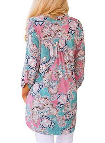 YOUJIA Mujeres Verano Camisetas Cuello en V manga 3/4 Floral Irregular Shirts Camisas Blusa Tops Ligero Azul