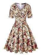 ROOSEY Women's 1950s Vintage Deep V Neck Half Sleeve Retro Cocktail Swing Dress