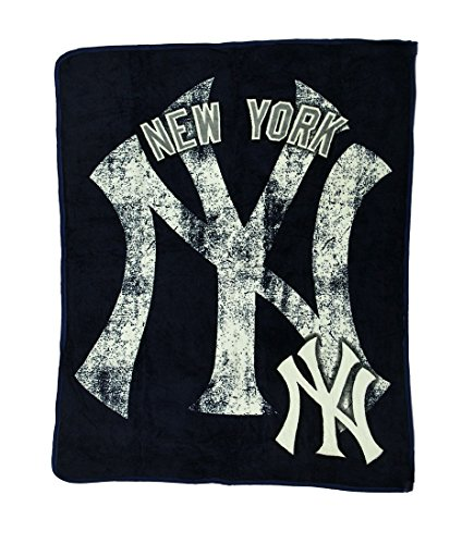 Plush Raschel Micro (The Northwest Company Polyester Sports Fan Throw Blankets Mlb New York Yankees Micro Raschel Plush Throw Blanket 46 X 60 Inch 46 X 60 X 0.25 Inches Blue)