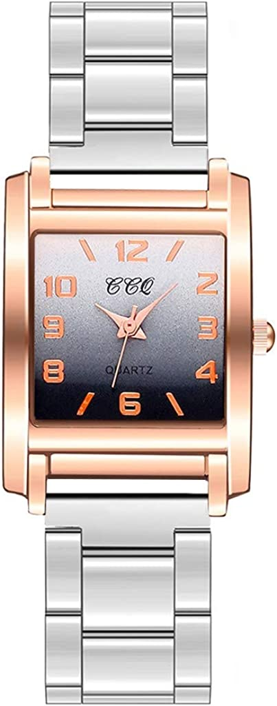 Yivise Reloj de Pulsera Elegante para Mujer Reloj de Cuarzo analógico con gradiente Cuadrado Cuadrado Mate Dial de Acero Inoxidable