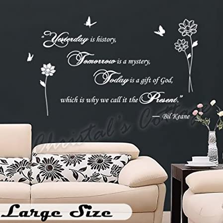 fancy writing yesterday today tomorrow quote wall art vinyl sticker