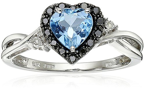 10K White Gold Blue Topaz Heart with Black and White Diamond Ring, Size 6
