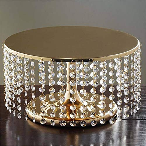 Tableclothsfactory Gold Breathtaking Crystal Pendants Metal Chandelier Wedding Cake Stand - 7.5 Tall