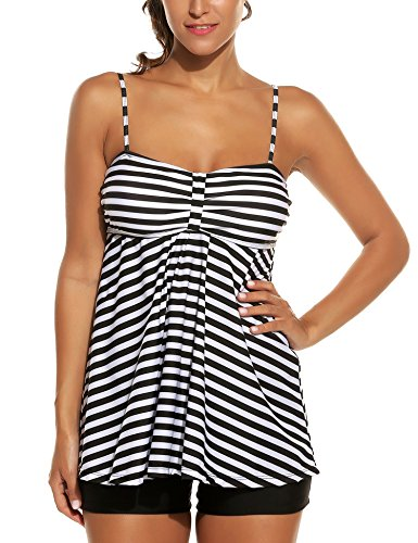 Avidlove Women's Sexy Retro Sailor Stripe Tankini Swimsuit Spaghetti with trunks Black XXL
