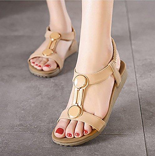 diamantes con 5 7 albaricoque Sandalias con pies diseño correa para de 2 planas mujeres ancha de imitación para ZUWq5IB