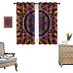 Mandala Blackout Window Curtain Vintage Style Wedding Invitation Card with Mandala Motif Flower Illustration Customized Curtains W55 x L39 Maroon and Red