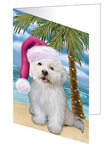 Summertime Happy Holidays Christmas Bichon Frise Dog on Tropical Island Beach Greeting Card - Frise Cards Christmas Bichon