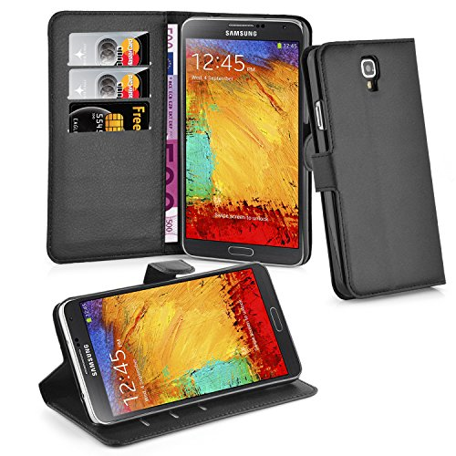 Cadorabo - Book Style Wallet Design for Samsung Galaxy NOTE 3 NEO (N7505) with 2 Card Slots and Stand Function - Etui Case Cover Protection Pouch in OXID-BLACK