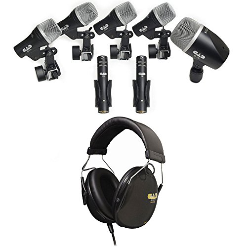 (CAD Audio 7-Piece Drum Microphone Pack (3) D29, (2) C9, D19, D10 Bundle Drummer Isolation Headphones -50mm Drivers DH100)