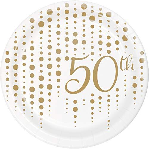 Creative Converting 339900 Sparkle and Shine Gold 50th Anniversary Dessert Plates, 7