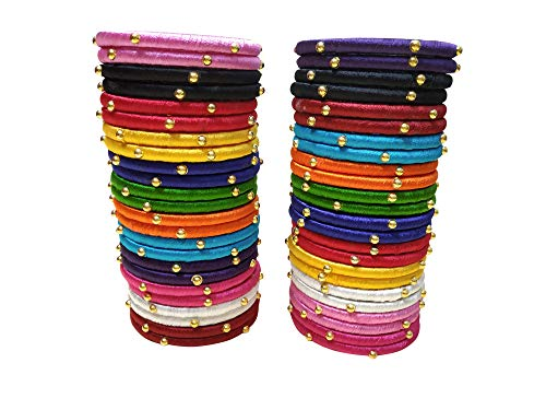 Silk Thread Bangles Stylish Elegant Multicolor with Gold Beads (Set of 48 Bangles) (Multicolor, 2.8)