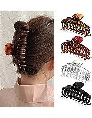 Stor hårklämma för kvinnor plast kloklämmor 4 stycken halkfria hårspännen jumbo hårklämmor för tjockt hår
