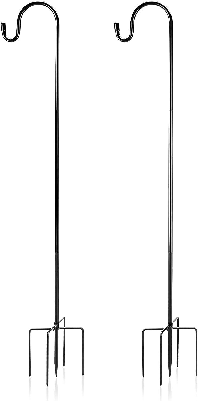 Outdoor Shepherds Hook Stand 36 Inch with 5 Prong Metal Hook Base Bird Feeder Pole Heavy Duty Shepards Garden Plant Hooks for Hanging Solar Lights,Flower pots,Mason Jars, Wedding Decorations (36 in)