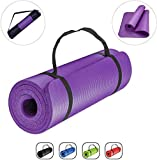 GJF Exercise Mat Yoga Mat 6MM Thick Double Sided TPE Fitness Pad with Carry Bag and Strap Eco Friendly Non Slip Exercise Mat for Men Women Home Gym Pilates Meditation Stretching Size:183 X 61cm