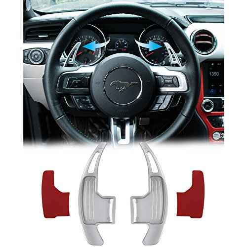 (Danti 2Pcs Aluminum Steering Wheel Dull Polish Shift Paddle Shifter Extension for Ford Mustang 2015 2016 2017 2018 (Silver))