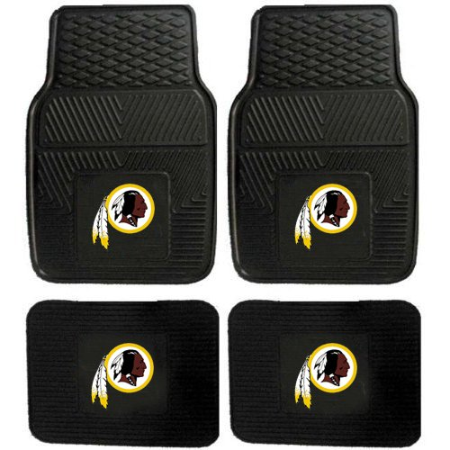 NFL Washington Redskins Car Floor Mats Heavy Duty 4-Piece Vinyl - Front and Rear