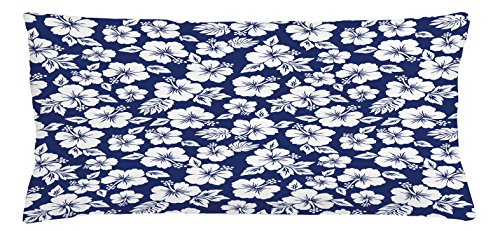 Ambesonne Hawaii Throw Pillow Cushion Cover, Hibiscus Silhouettes Flowering Mallow Family Plant Exotic Summer Season Foliage, Decorative Square Accent Pillow Case, 36 X 16 inches, Navy Blue White by Ambesonne