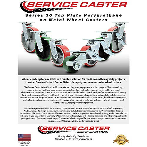 Service Caster - 8'' x 2'' Polyurethane Wheel Caster Set - Green on Black - 2 Swivel w/Brakes/2 Rigid - Non Marking - 5,000 Lbs Total Capacity - Set of 4 by Service Caster (Image #2)