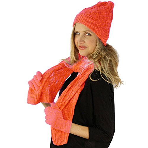 Ladies 3pc Winter Soft Cable Knit Beanie Skull Hat Long Scarf Gloves Set Pink
