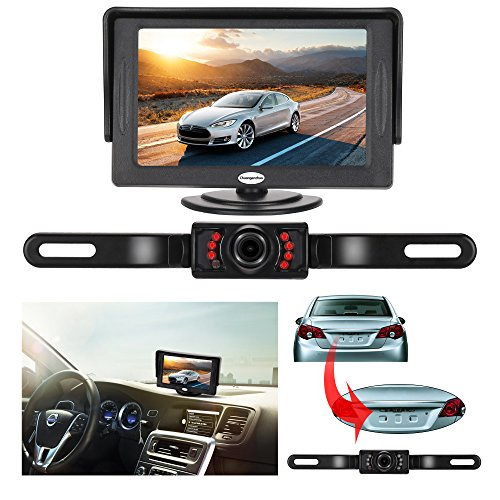 Backup Camera and Monitor Kit for Car,Universal Wired Waterproof Rear-View License Plate Car Rear Backup Camera + 4.3 LCD Rear View Monitor (Camera and Monitor)