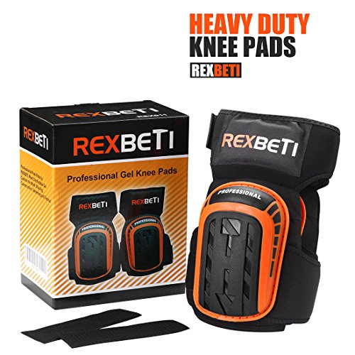 Knee Pads for Work, Construction Gel Knee Pads Tools by REXBETI, Heavy Duty Comfortable Anti-slip Foam Knee Pads for Cleaning Flooring and Garden, Strong Stretchable Double Straps - Orange, 1 Pair by REXBETI (Image #6)