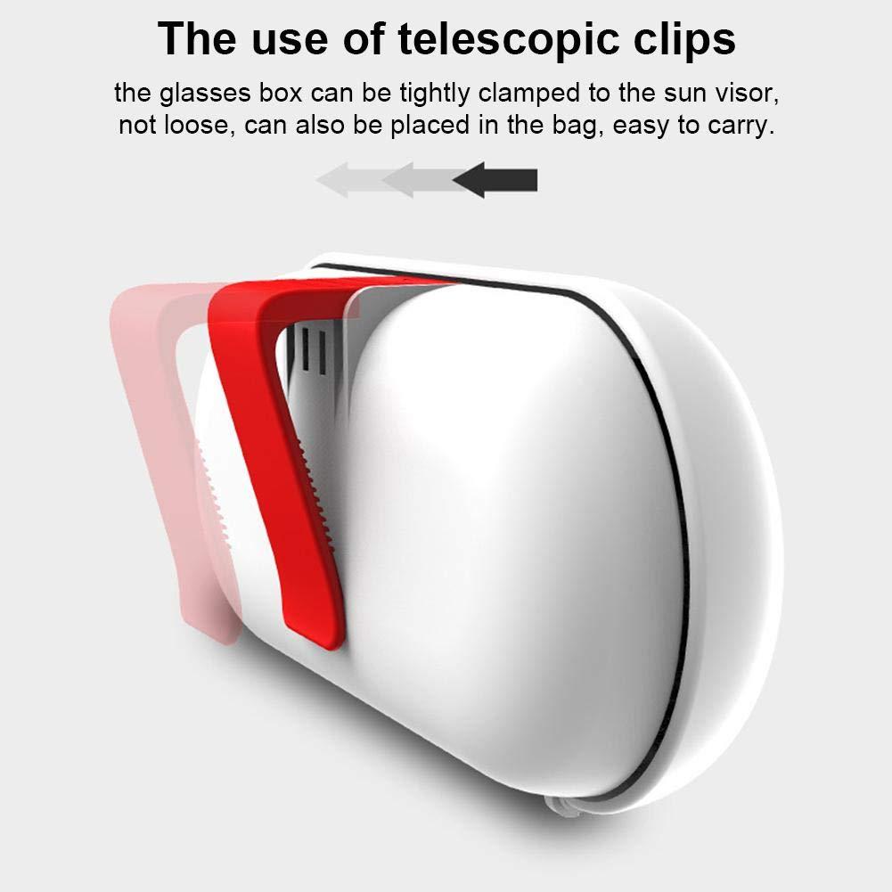 Easy-topbuy Estuches De Gafas De Coche Funda para Gafas Porta Gafas De Sol con Portatarjetas Interruptor De Empuje ABS