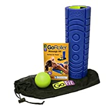 """GoFit 12"""" Go Roller w/ NEW Ultra Fin Core, Includes Trigger Therapy Ball, in Portable Massage Kit for Post-Workout Recovery, Foam Massage Roller, Release Ball, Deep Tissue Massage"""