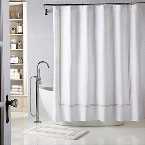 Wamsutta Baratta Stitch Shower Curtain, Contemporary Fabric Shower Curtain 78-inch x 54-inch, (White/Taupe)