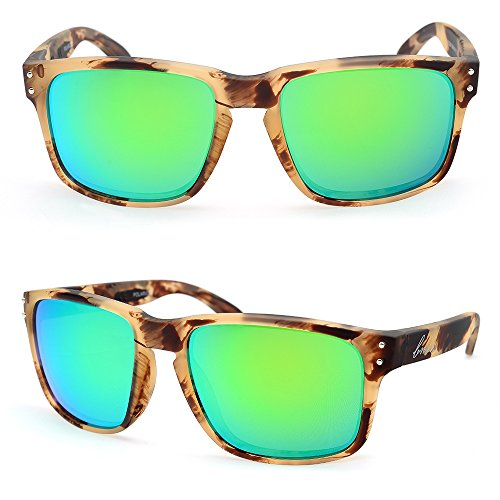 316b5c48460 Galleon - Bnus Italy Made Corning Real Glass Lens Polarized Sunglasses For  Women Men (Frame  Jungly Lens  Green Flash
