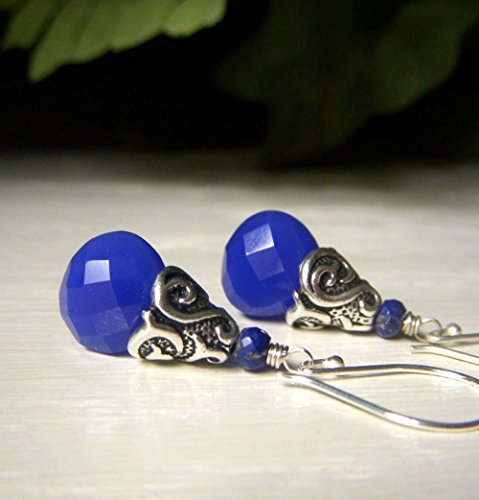 Cobalt Earrings, Dark Blue Chalcedony Gemstone with Lapis, Sterling Silver, Simple Teardrop Dangle