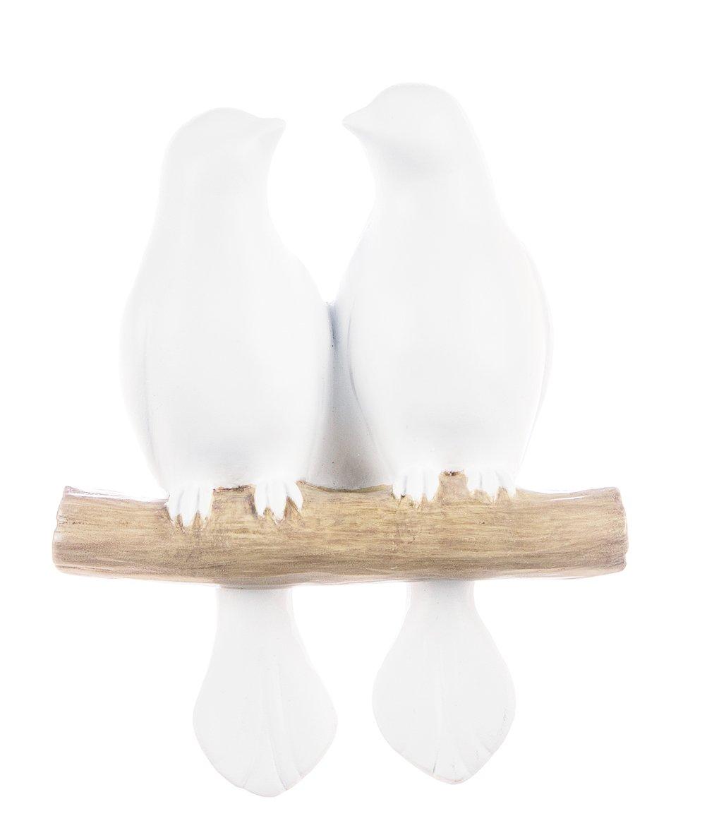 Sullivans 6'' White Resin Birds on a Branch Wall Art Sculpture