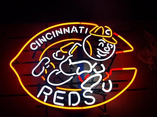 "Desung New 24""x20"" Cincinnati Red Neon Sign Man Cave Bar Pub Beer Neon Lamp Real Glass Neon Light DX107"