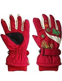 Kids Ski Gloves Winter Warm Waterproof Print Outdoor Riding Thickening Children Gloves 4-6 years old