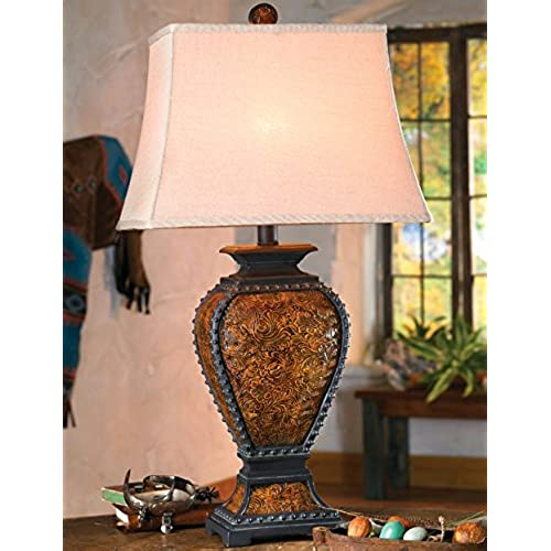 Superb Tooled Leather Old West Rustic Lamp   Western Lighting Fixtures