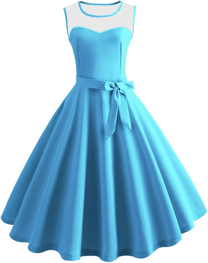 KYLEON Womens Dresses 1950s Vintage Solid Sleeveless Retro Cocktail Prom Evening Party Formal Swing Tea Dress Summer