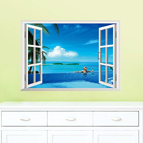 ORDERIN Christmas Gift New Creative Wall Decal 3d False Window Blue Island Ocean Background Removable Mural Wall Stickers for Living Room Wall Home - Map Store Island Fashion