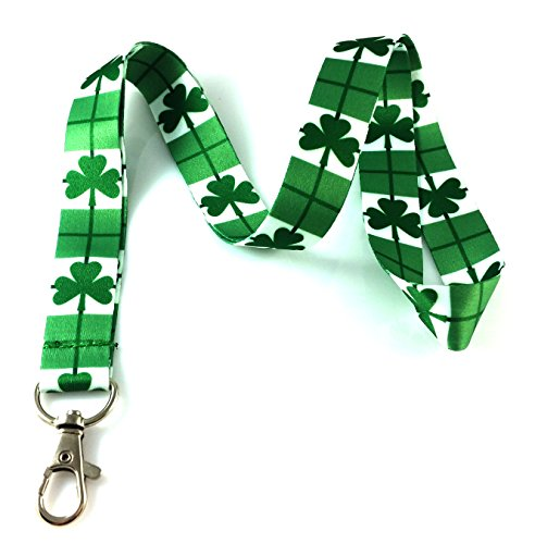 Clover or Shamrock St. Patrick's Day Print Lanyard Key Chain Id Badge ()