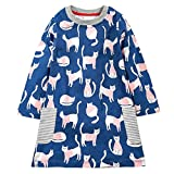 KIDSALON Little Girls Cotton Crewneck Cotton Dresses with Pocket (5T, Cute Cat)